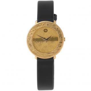 ARS Damen-Armbanduhr Quarz Analog 750 Gold Gelbgold Lederband Safirglas