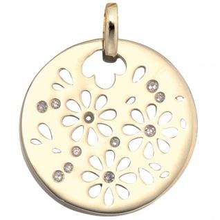 Anhänger Blumen rund 585 Gold Gelbgold 11 Diamanten Goldanhänger Blumenmuster