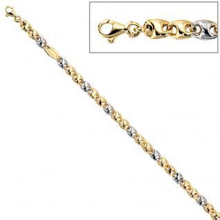 Armband 585 Gold Gelbgold Weißgold bicolor 19 cm Goldarmband Karabiner