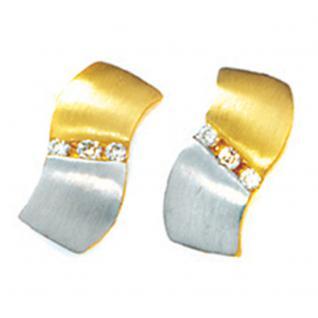 Ohrstecker 585 Gold Gelbgold bicolor matt 6 Diamanten Brillanten Ohrring