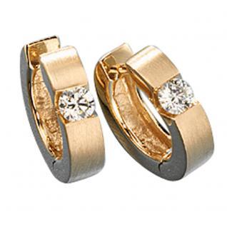 Creolen rund 585 Gold Gelbgold matt 2 Diamanten Brillanten 0, 30ct. Ohrringe