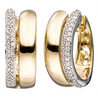 Creolen 585 Gold Gelbgold bicolor 86 Diamanten Brillanten Ohrringe