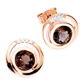 Ohrstecker rund 585 Gold Rotgold 8 Diamanten Brillanten 2 Rauchquarze braun