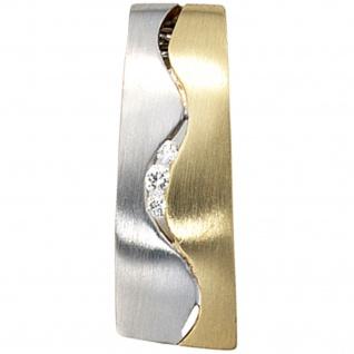 Anhänger 585 Gold Gelbgold Weißgold bicolor matt 3 Diamanten Brillanten