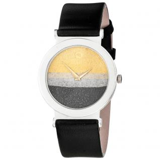 ARS Unisex Armbanduhr Quarz Analog 925 Sterling Silber schwarzes Lederband