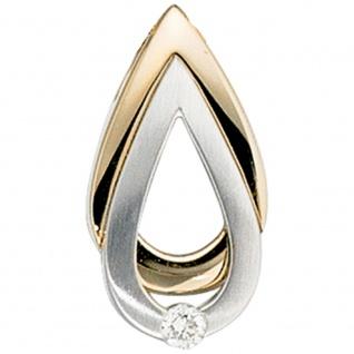 Anhänger Tropfen 585 Gold Gelbgold Weißgold mattiert 1 Diamant Brillant