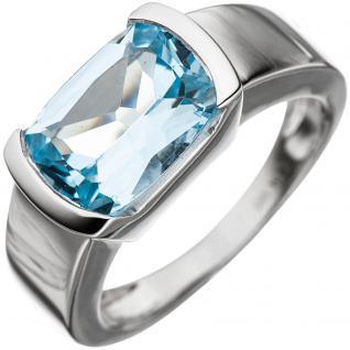 Damen Ring 585 Gold Weißgold 1 Blautopas hellblau blau Goldring - 60