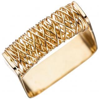 Damen Ring quadratisch 585 Gold Gelbgold Goldring - 58