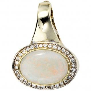 Einhänger Anhänger 585 Gold Gelbgold 34 Diamanten Brillanten 1 Opal Goldanhänger