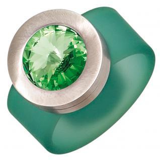 Damen Ring PVC mit Edelstahl kombiniert 1 Swarovski-Element grün - 60