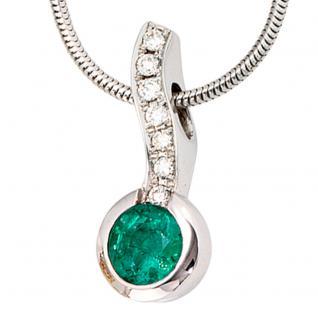 Collier Kette mit Anhänger 750 Weißgold 7 Diamanten Brillanten 1 Smaragd grün