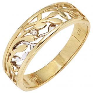 Damen Ring 585 Gold Gelbgold Weißgold bicolor 1 Diamant Brillant 0, 02ct. - 50