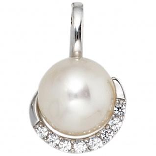 Anhänger 585 Gold Weißgold 1 Süßwasser Perle 8 Diamanten Perlenanhänger