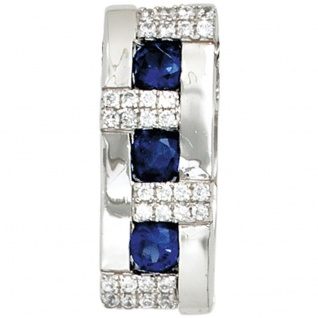 Anhänger 925 Sterling Silber rhodiniert mit Zirkonia blau