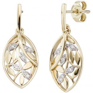 Ohrhänger 585 Gold Gelbgold bicolor 14 Diamanten Brillanten Ohrringe