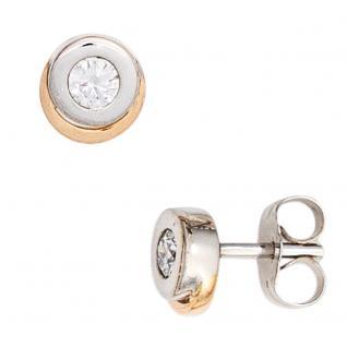 Ohrstecker 585 Gold Weißgold Rotgold bicolor 2 Diamanten Brillanten Ohrringe