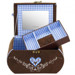 Friedrich Lederwaren Schmuckkoffer Schmuckkasten BAVARIA blau braun Spiegel