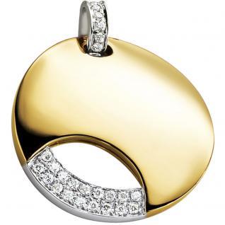 Anhänger 585 Gold Gelbgold Weißgold bicolor 24 Diamanten Brillanten Goldanhänger