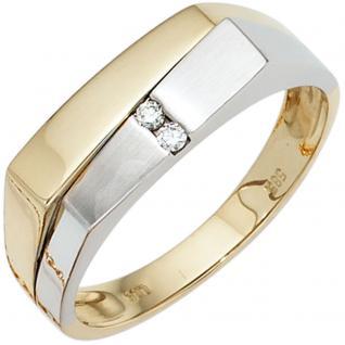 Herren Ring 585 Gold Gelbgold Weißgold mattiert 2 Diamanten Brillanten Goldring - 66
