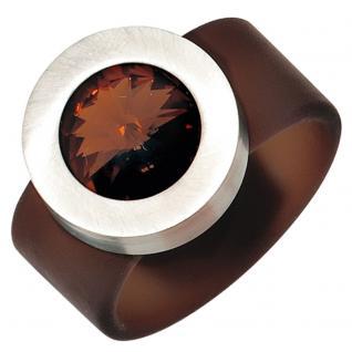 Damen Ring braun PVC mit Edelstahl kombiniert 1 Swarovski-Element - 50