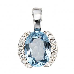 Anhänger 585 Gold Weißgold 14 Diamanten Brillanten 1 Blautopas blau Goldanhänger