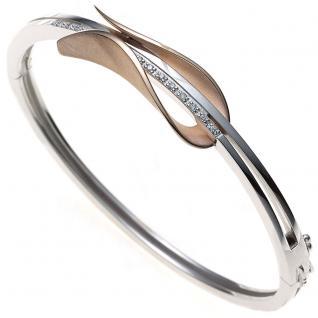 Armreif Armband oval 585 Gold Weißgold Rotgold bicolor 12 Diamanten Brillanten