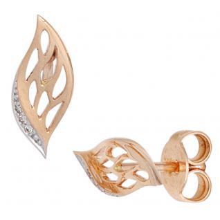 Ohrstecker 585 Gold Rotgold bicolor 6 Diamanten Brillanten Ohrringe