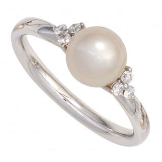 Damen Ring 585 Gold Weißgold 1 Süßwasser Perle 6 Diamanten Brillanten Goldring
