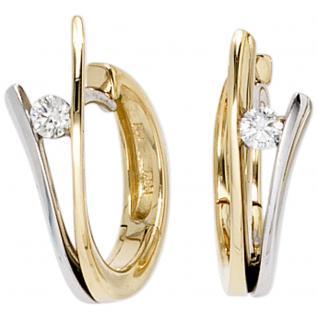 Creolen 585 Gold Gelbgold Weißgold bicolor 2 Diamanten Brillanten Ohrringe