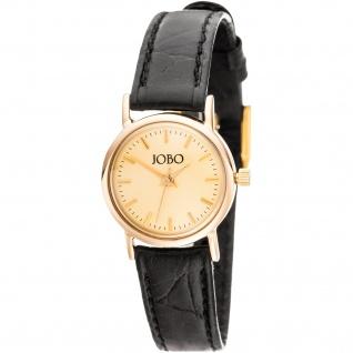 JOBO Damen Armbanduhr Quarz Analog 585 Gold Gelbgold Damenuhr Golduhr Lederband
