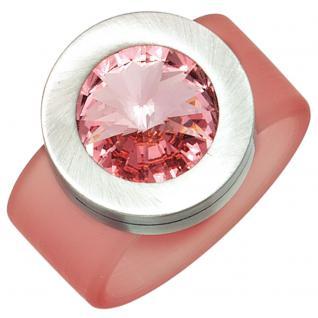 Damen Ring PVC mit Edelstahl kombiniert 1 SWAROVSKI® ELEMENT pink