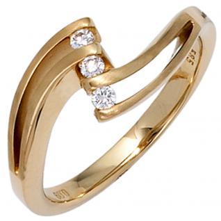 Damen Ring 585 Gold Gelbgold mattiert 3 Diamanten Brillanten 0, 09ct. Goldring - 56