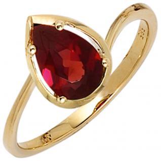 Damen Ring 585 Gold Gelbgold 1 Granat rot Goldring - 56
