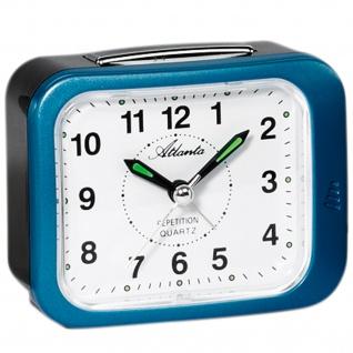 Atlanta 1583/5 Wecker Quarz analog blau schwarz leise ohne Ticken Licht Snooze