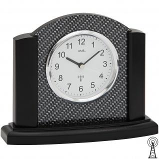 AMS 5123/11 Tischuhr Funk Funktischuhr analog schwarz mit Carbon Optik