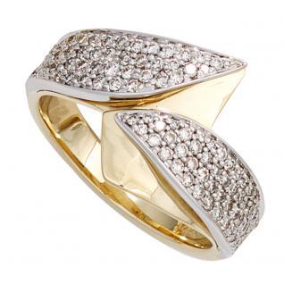 Damen Ring 585 Gold Gelbgold Weißgold 94 Diamanten Brillanten Goldring - 58