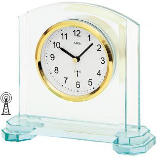 AMS 5147 Tischuhr Funk Funktischuhr analog modern mit Glas und Aluminium