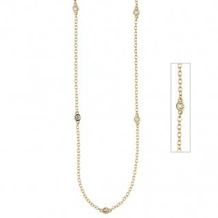 Collier Halskette 925 Sterling Silber gold vergoldet 7 Zirkonia 47 cm Kette