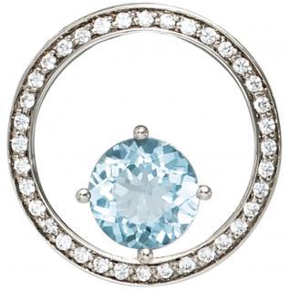 Anhänger rund 585 Gold Weißgold 36 Diamanten Brillanten 0, 27ct. 1 Blautopas blau