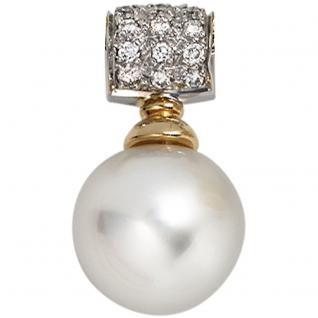 Anhänger 585 Gold Weißgold Gelbgold 18 Diamanten 1 Südsee Perle Perlenanhänger
