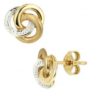 Ohrstecker verschlungen 585 Gold Gelbgold bicolor 2 Diamanten Ohrringe