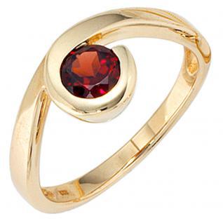 Damen Ring 333 Gold Gelbgold 1 Granat rot Goldring - 60