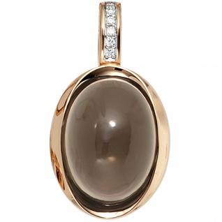 Einhänger Anhänger 585 Gold Rotgold 6 Diamanten Brillanten 1 Rauchquarz braun