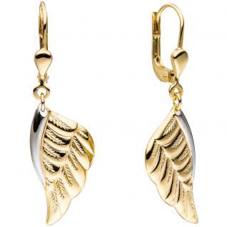 Boutons Flügel Engelsflügel 333 Gold Gelbgold bicolor Ohrringe Ohrhänger