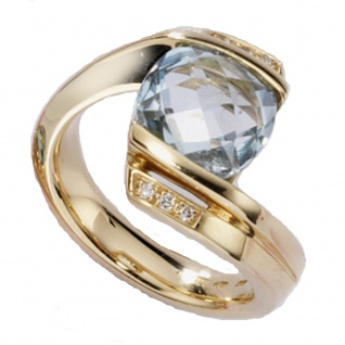 Damen Ring 585 Gold Gelbgold 1 Blautopas hellblau blau 6 Diamanten Brillanten