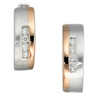 Creolen rund 585 Gold Weißgold Rotgold bicolor 8 Diamanten Ohrringe Goldcreolen