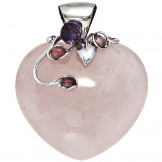 Anhänger Herz Rosenquarz mit 925 Silber kombiniert 1 Kristall 3 Turmaline