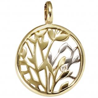 Anhänger rund 585 Gold Gelbgold Weißgold kombiniert 1 Diamant Brillant 0, 02ct.