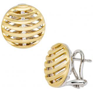 Ohrstecker 585 Weißgold Gelbgold bicolor 12 Diamanten Brillanten Ohrringe