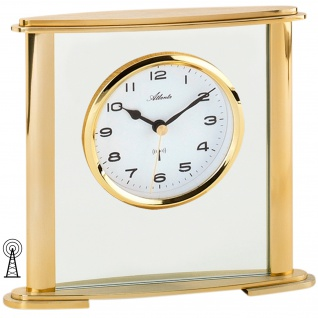 Atlanta 3092/9 Stiluhr Tischuhr Funk analog golden mit Glas
